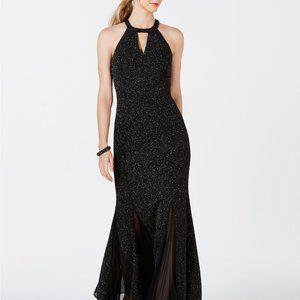 Nightway Glitter-Knit Teardrop Gown Black/Silver